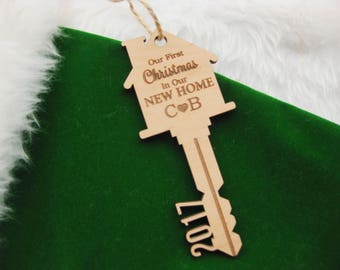Our first Christmas in our new home ornament- Our First House Ornament, Key Ornament,  personalized gift, First Home Ornament