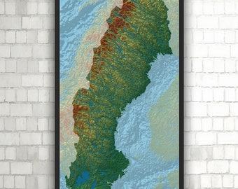 Norway Elevation Map High Resolution Digital Print Map - Norway elevation map
