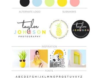 Modern Branding Kit Photography Logo Branding Package Pineapple Logo Branding Set, Yellow Tropical Logo Boutique Lifestyle Cooking Blog Logo