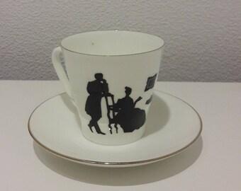 Vintage Lomonosov Coffee Cup and Saucer, Porcelain Hand Painted black silhouette motive, Russian Imperial Porcelain, LFZ