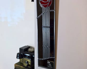 Art Deco Mackintosh Rose stained glass style mirror handmade art nouveau rose 10x40cm