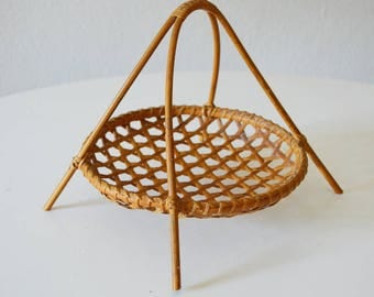 Vintage rattan fruit bowl basket Bowl vintage wicker fruit basket mid century