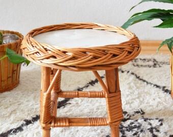 Vintage rattan boho flower stool side table plant stand plants bohemian wicker Stool Bohemian