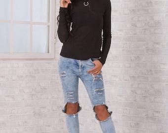 Black Blouse/ Blouse With Metal Accessory / Long Sleeves Blouse/ Blouse V back/ Black Cotton Blouse/ Practical blouse/ Friends Fashion