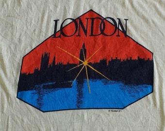 Vintage 1987 London England Graphic T Shirt / Tee / Big Ben / Buckingham Palace / Great Britain (L Large)