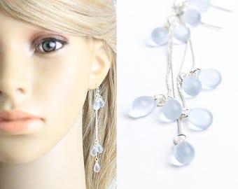aquamarine earrings light blue jewelry silver earrings gift wife birthday gift elegant jewelry delicate earrings romantic jewelry gift w134