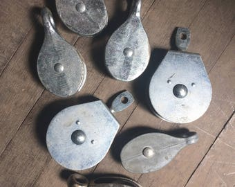 Vintage Lot / Set of 7 Heavy Metal Pulleys, Industrial Home Decor