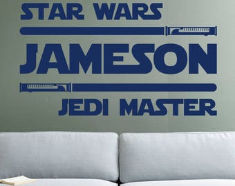 Jedi Master Name Decal Star Wars Wall Decal Personalized Name Decal Star Wars Names Star Wars Room Decor Boys Name Decals For Nursery GS26