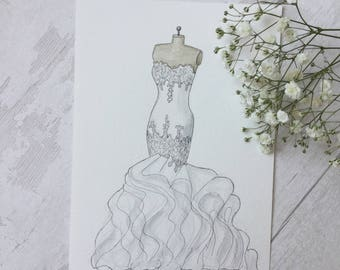 CUSTOM Wedding dress illustration on mannequin