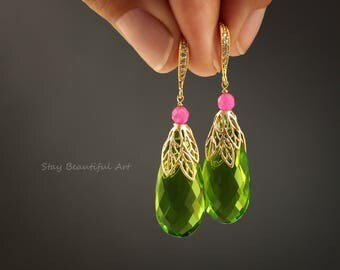 Peridot Quartz Gold Plated Earrings Summer Gemstone Jewelry Green Pink Earrings Briolette gift for her