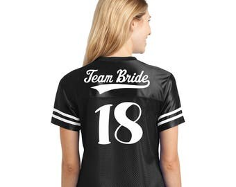 Bachelorette party Football Jersey Team Bride and wedding year on back choose custom design on front - Sexy Football Jersey Bride tribe