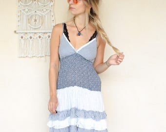 Vintage 90's Broderie Anglaise Ruffle Mini Dress