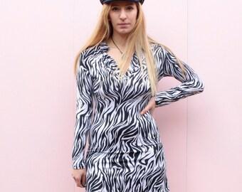 Vintage 90's does 70's Zebra Mini dress