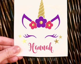 Personalized Unicorn Floral Name Decal, Vinyl Decal Sticker, Flower Decal, Unicorn Horn Decal, Unicorn Name Decal, Personalized, Magical