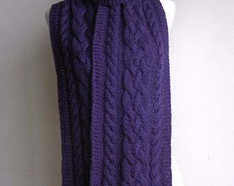 Purple Pure Wool Hand Knitted Plaited Cable Scarf - 'Natalia'.