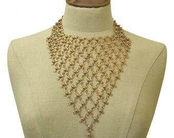 1970s Gold Tone Vintage Floral Bib Necklace