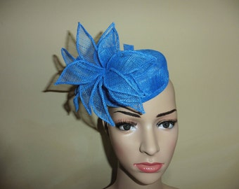 Bright Blue Pillbox Hat. Blue Hat.Wedding Hat.Ascot Race Hat. Occasion Hat.Blue Wedding Hat. Blue Race Hat. Blue Occasion Hat