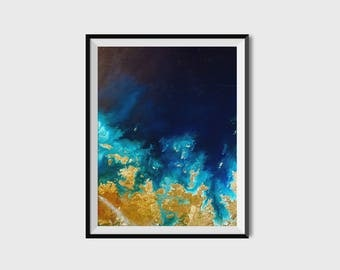 Aerial photography, aerial beach, abstract photography, abstract art, abstract wall art, modern art print, yellow wall art, blue artwork