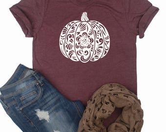 Floral Pumpkin Shirt / Pumpkin Shirt / Fall Shirt / Thanksgiving Shirt / Cute Pumpkin Top