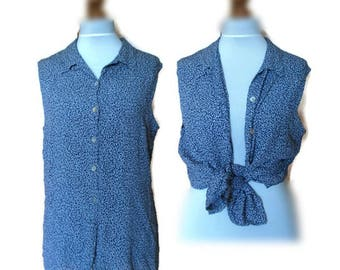 Vintage Floral shirt, Sleeveless top, Button down shirt, Button down blouse, Vintage Blouse, Blue blouse, Floral blouse, Summer blouse, M