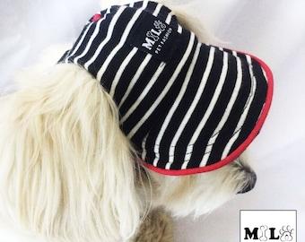 SALE Pet Hat, Black and White Stripes, Dog Cap, Caps, Pet Accessories, Summer, Soldier, Dog Hat, Dog Baseball Hat, Dog Visor, Sailor