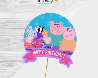 Peppa Pig Cake Topper - Centerpiece - Paper - Instant Download - Printable - Peppa Pig Party - Peppa Pig Birthday - Peppa Pig Decoration
