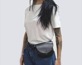 Belt bag leather black gloss, leather shoulder bag, leather waist bag, leather handmade belt bag, leather belt bag, Kroshka bag, black gloss