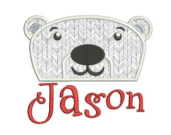 White bear Applique Design 8 sizes included.Machine embroidery design. White bear  Embroidery design PES,Kid Embroidery, embroidery design
