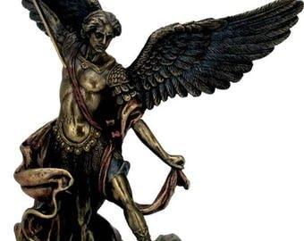 "Archangel St Saint Michael Statue Sculpture Defeated Lucifer Bronze Finish 7.87"""