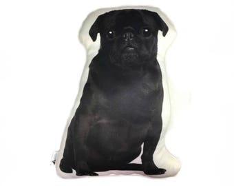 Black Pug Dog Shaped Dog Cushion, Add Custom Lettering, Handmade By Creature Comforts Direct, Dog Pillow, Personalised Dog Gift, Animal