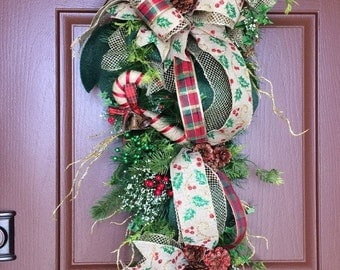 ON SALE - Christmas door swag, Candy cane swag, Woodlands swag, Christmas swag, Natural Christmas swag, Christmas wreath
