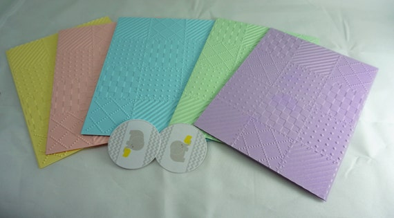 CLEARANCE of 5 embossed all occasion cards| pastel embossed cards| Blank card set| Baby shower cards|