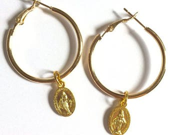 30mm Gold Mary Hoops