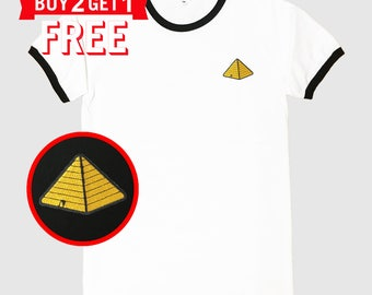 Pyramid Embroidered Ringer T-Shirt by 24PlanetsStudio