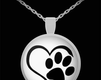 """Adorable Puppy Paw Print in Heart Necklace with Pendant! Ideal gift for an animal lover! Wear this proudly on 22"""" silver plated necklace!"""