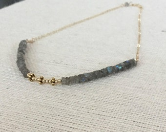 Gold Labradorite Heishi Necklace