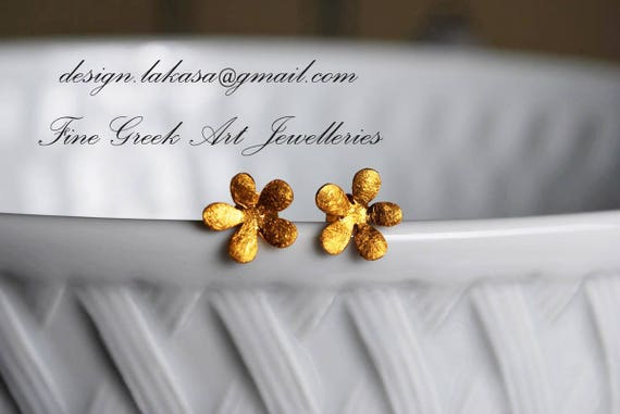 Flower Stud Earrings Sterling Silver Gold Handmade Jewelry Fine Greek Art Woman Girlfriend Sweet Girl Floral Design Moda Romantic Style Love