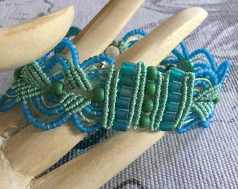 Summer Sunshine Micro Macrame Bracelet - beaded jewellery - jewelry - beaded - gift - boho chic - beach jewellery