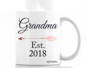 Grandma Established 2018 Pregnancy Accouncment Coffee Mug, Grandma coffee mug, grandma gift, established coffee mug, pregnancy announcement