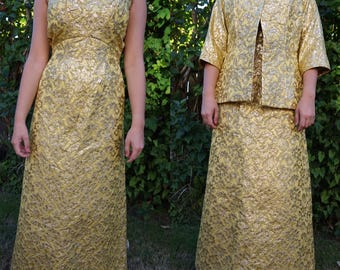 Vintage 1950s / 1960s Metallic Gold Lame Floral Brocade Cocktail Evening Dress With Matching Jacket Medium / Small