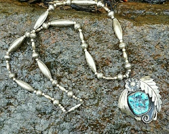 Vintage sterling silver turquoise necklace 17 in