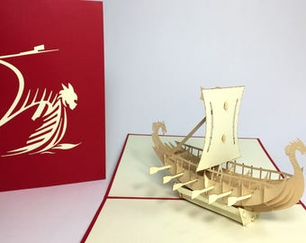 3D Viking Ship - Pop Up Viking Birthday Card - Father's Day Card - Dad Birthday Card - Holidays Card - Congratulations Card - Safe Trip Card