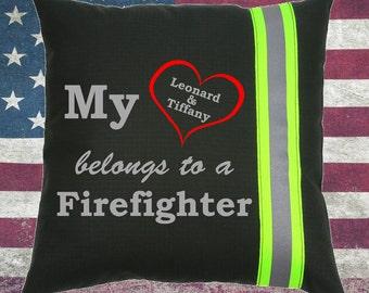 Firefighter BLACK Pillow - My Heart Belongs to a Firefighter