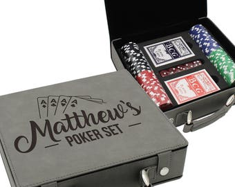 Poker Set - Poker Player Gifts - Personalized Poker Chip Set - Texas Holdem Poker Set - Personalized Poker Case - Poker Chip Display