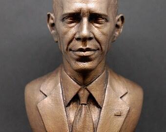 Barack Obama resin cast faux bronze bust