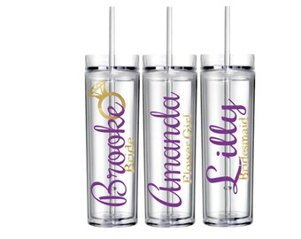 Personalized Name Tumbler/Clear/Purple/Glitter/Ring/Cute/Coral/Summer/Spring/Winter/Wedding/Bride/Bachelorette/Bridesmaid/Favor Gift/cup