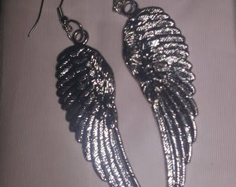Large Angel Wing Earrings - Extra Large Blessings! Hook Silver