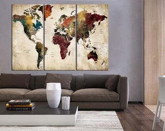 3 pieces world map etsy large push pin world map canvas art 3 pieces wall art world map art for home gumiabroncs Choice Image