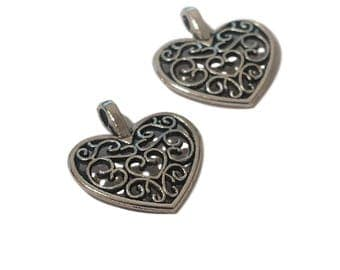 4 or 20 BULK Heart Charms | Silver Heart Charms | Heart Scroll Work | Filigree Heart Charms | Heart Pendant | Ready to Ship USA | AS302