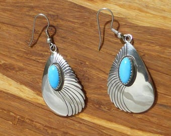 Sterling Silver and Turquoise Concho Earrings